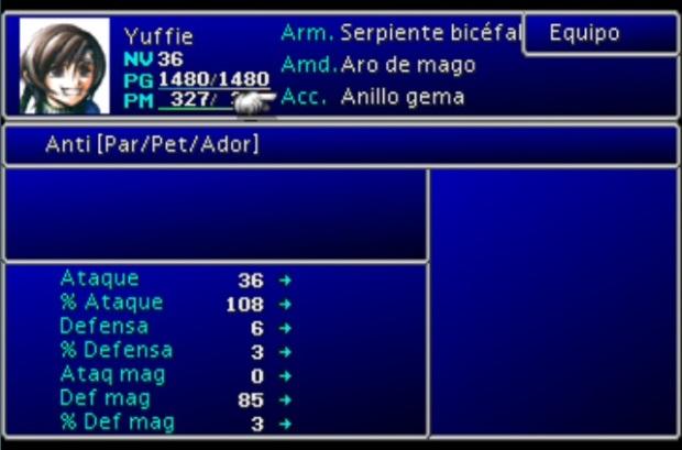 Armas, armaduras y accesorios en Final Fantasy VII